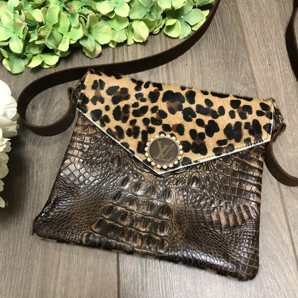 Louis Vuitton Upcycled Leopard andLeather Purse