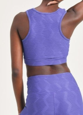 Sports Bra - Textured Sectional Ribbed Jacquard TACTEL