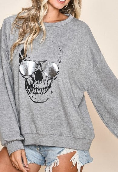 Skull with Foil Sunglasses Top