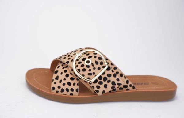 Graphic Slip On Buckle Sandal - Cheetah