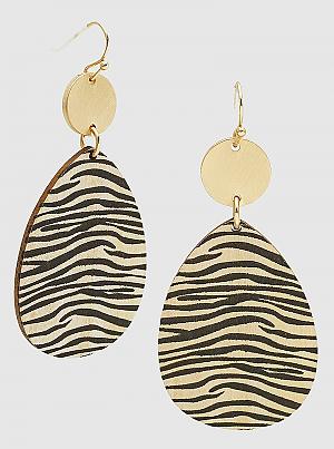 Animal Printed Wood Teardrop Earring