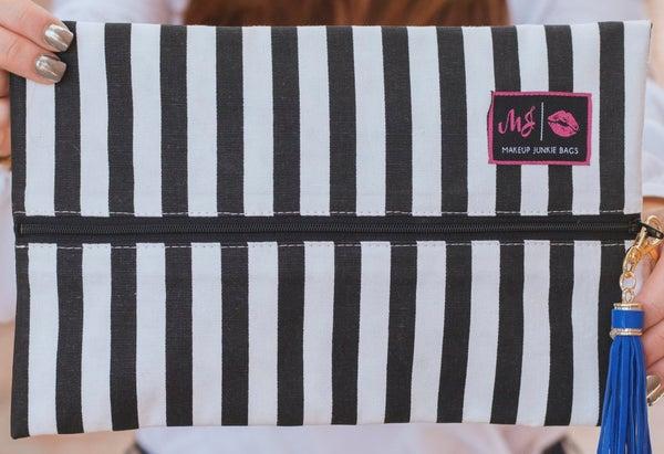 Makeup Junkie Glam Stripe Bag w/ Leopard Interior