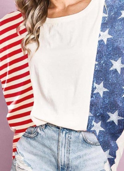 Stars and Stripes Color Block Top