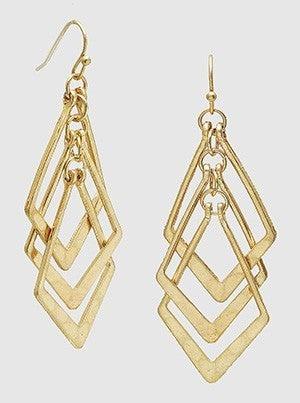 Hammered Diamond Drop Earrings