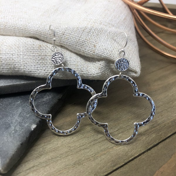 Silver Clover Round Earrings