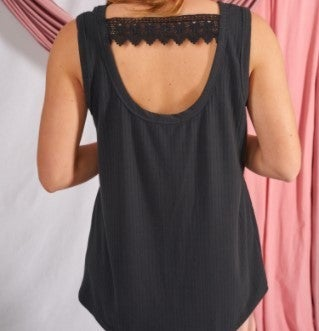 Touch of Flirty Ribbed Lace Accent Tank Top (2 colors)
