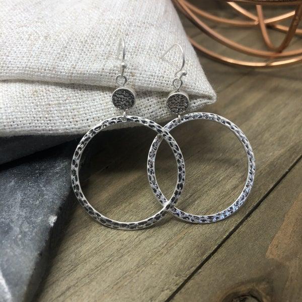 Silver Hammered Dangle Drop Earrings