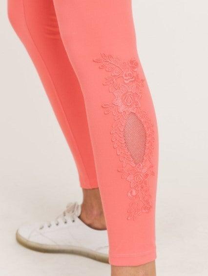 Floral Lace Keyhole Accent Highwaist Leggings