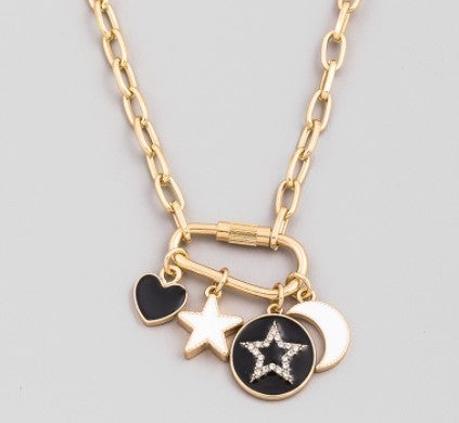 Carabiner Chain Star Coin Pendant Necklace