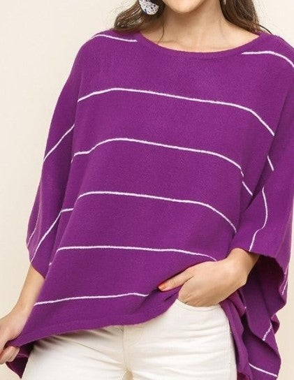 DOORBUSTER Striped 3/4 Dolman Sleeve Pullover Sweater