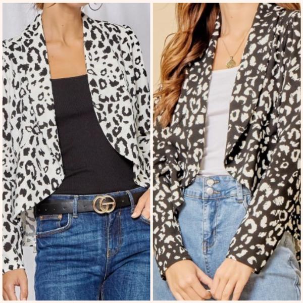 Leopard Print Peplum Blazer