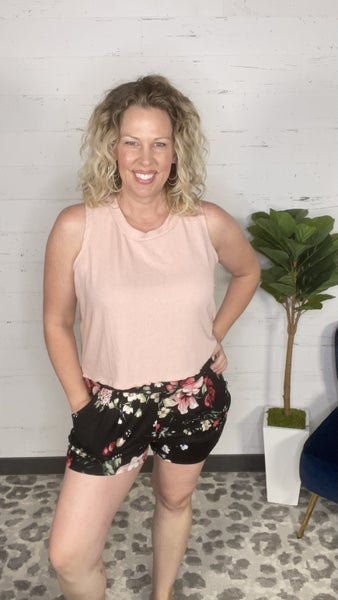 No Worries Floral Print Knit Harem Shorts