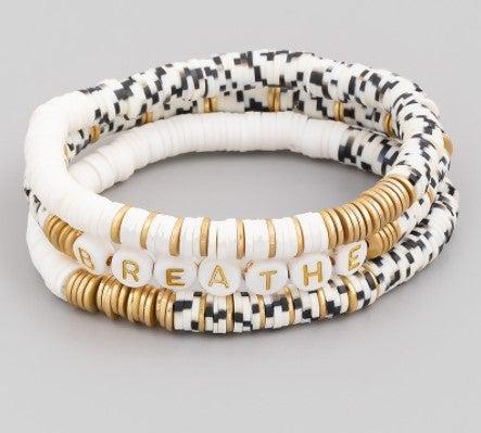 Beaded Disc Stretch Bracelet Set