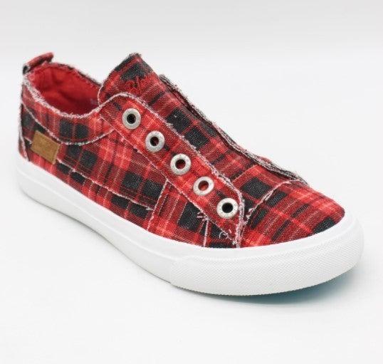 Blowfish Red Plaid Slip on Sneaker