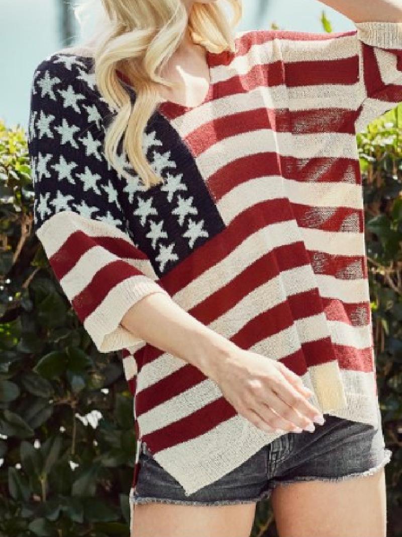 American Flag Short Sleeve Sweater