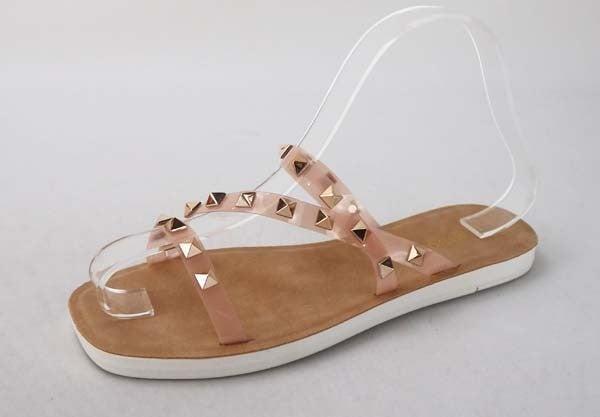 Strappy Studded A-Symmetrical Slide Sandal