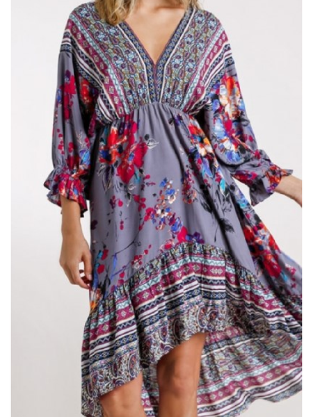 Floral and Paisley Dolman Sleeve Midi Dress