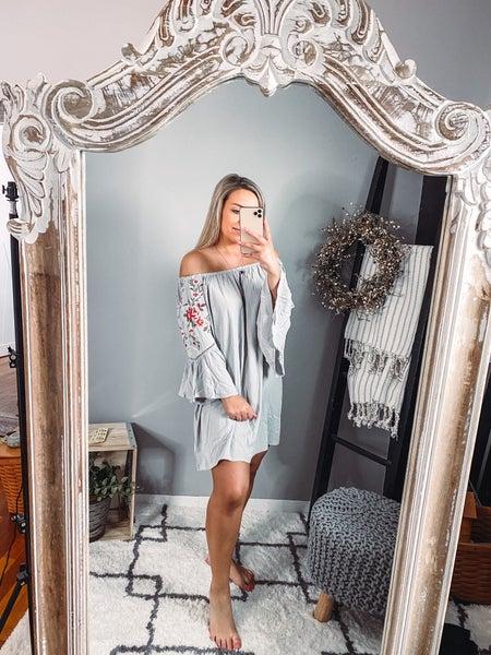 grey floral off shoulder dress