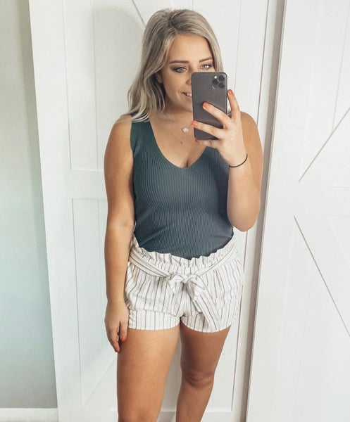High Waisted Belted Ruffle Striped Shorts
