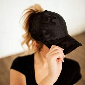 Black on Black Camo Pony Tail Hat