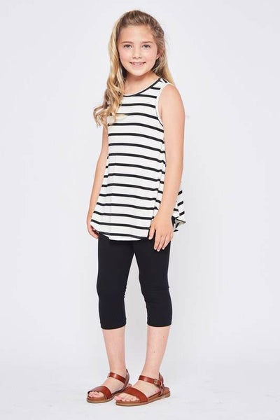 Kids Striped Tank (BLACK w/ Ivory Stripes) *Final Sale*