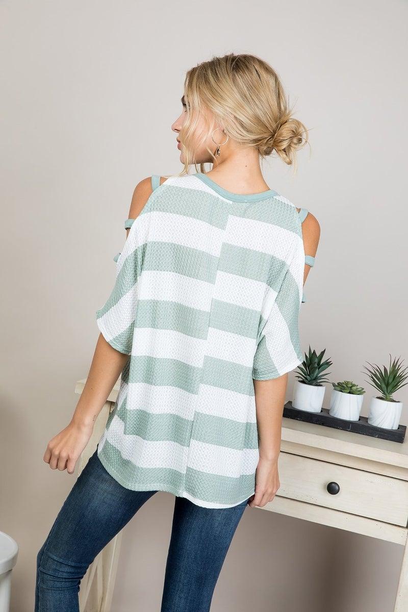 Cutout Shoulder Stripe Top