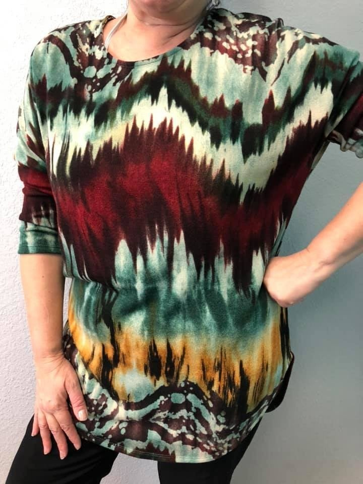 Baby Doll Red/Olive Tie-Dye inspired 3/4 Sleeve Tunic
