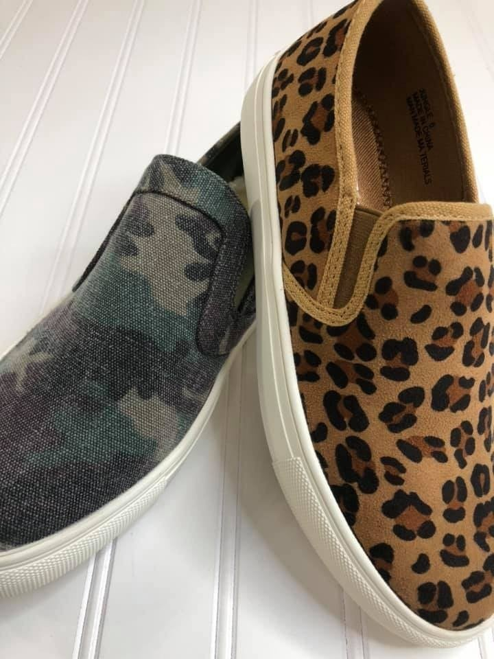 Slip-on Canvas Camo or Leopard Sneaker