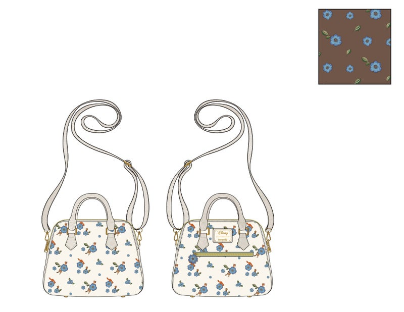 Fox and the Hound AOP floral Crossbody Loungefly - PRE-ORDER