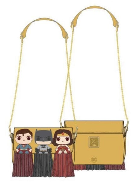 DC Comics Fringe Capes Crossbody Bag Batman, Superman & Wonder Woman [PRE-ORDER - SEPTEMBER DELIVERY] POP By LOUNGEFLY