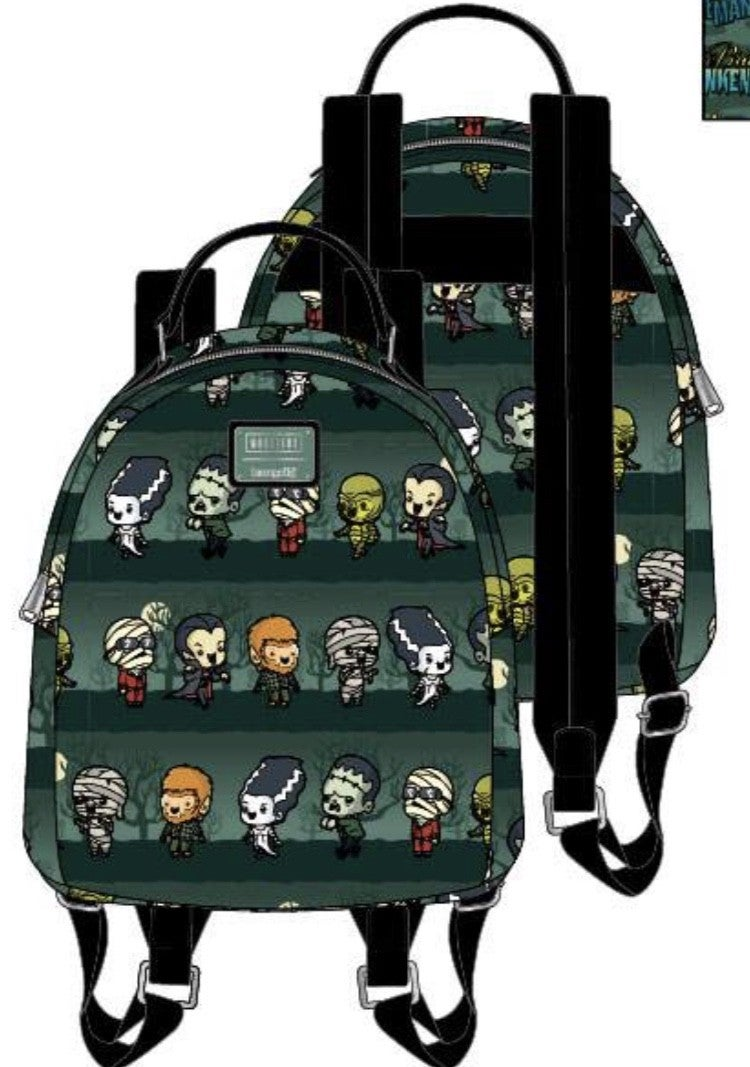 UNIVERSAL MONSTERS Chibi AOP Mini Backpack [PRE-ORDER - SEPTEMBER DELIVERY] LOUNGEFLY