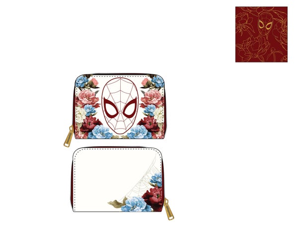 Marvel Spiderman floral zip around Wallet Loungefly PRE-ORDER
