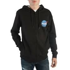 NASA Logo Long Sleeve Zipper Hoodie with  Pocket