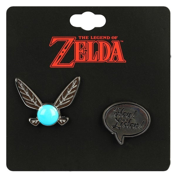 "Zelda Navi with ""Hey Listen"" Speech Bubble 2 Pack Lapel Pins"