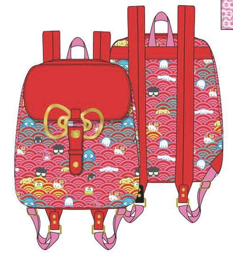 Sanrio 60th Anniversary Gold Bow AOP SET, BACKPACK & WALLET options Loungefly PRE-ORDER Nov/Dec