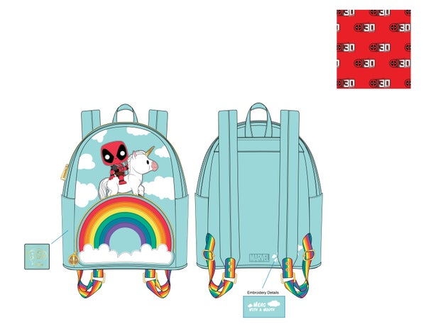 Marvel Deadpool 30th Anniversary Unicorn Rainbow Mini Backpack Pop by Loungefly PRE-ORDER
