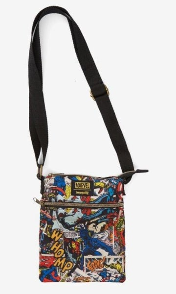 MARVEL AVENGERS COMIC BOOK PRINT PASSPORT CROSSBODY BAG LOUNGEFLY