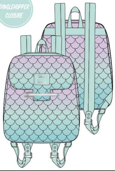 Little Mermaid Ombre Scales Mini Backpack Loungefly - PRE-Order late February