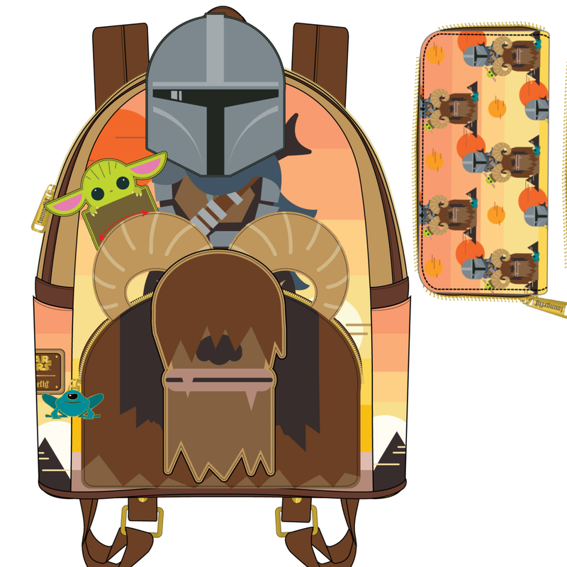 SET - Mandalorian Bantha Ride Mini Backpack Star Wars Loungefly PRE-ORDER expected late May