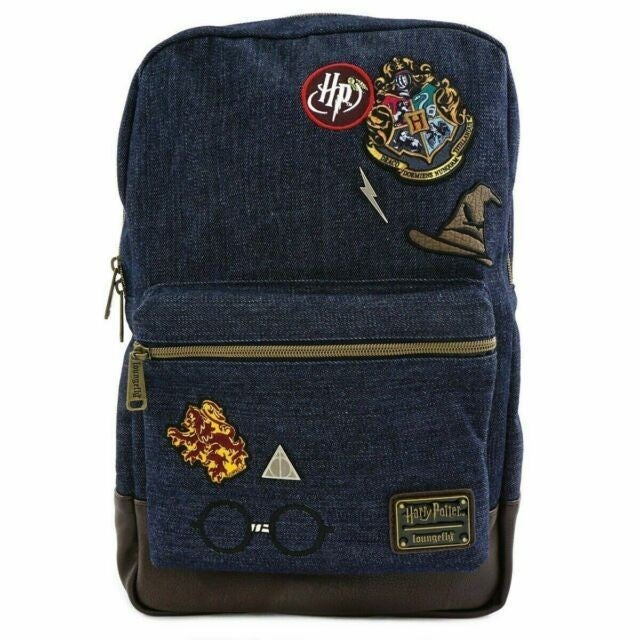 Harry Potter - Hogswarts Denim Full Size Backpack with Patches Loungefly