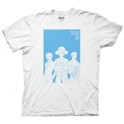 One Piece White & Blue Silhouette T-shirt Luffy Sanji & Zero Men's