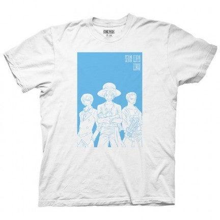 One Piece White & Blue Silhouette T-shirt Luffy Sanji & Zero Men's