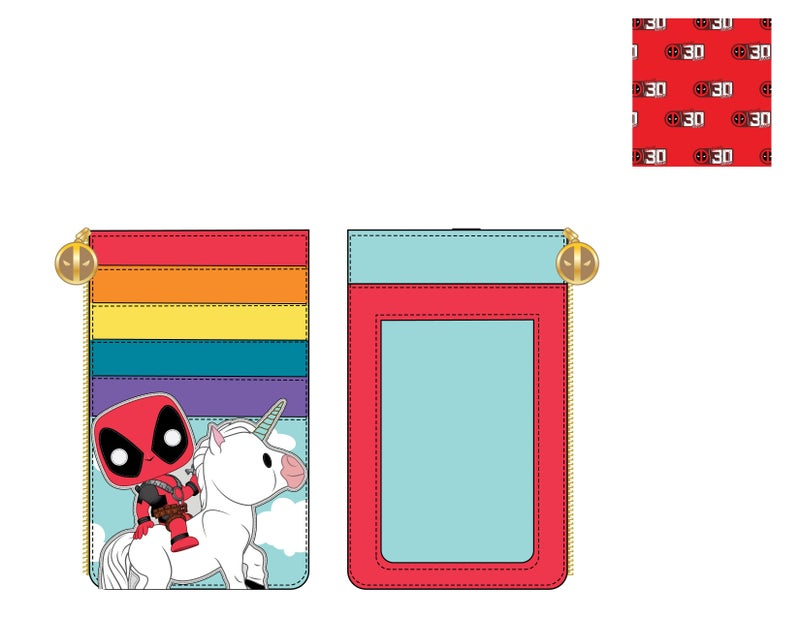 Marvel Deadpool 30th Anniversary Unicorn Rainbow Cardholder Pop by Loungefly PRE-ORDER