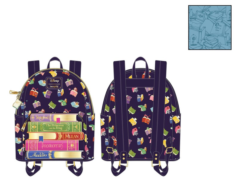 Disney Princess Books AOP Mini Backpack Loungefly PRE-ORDER