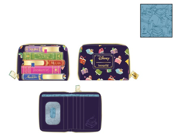 Disney Princess Books AOP zip around Wallet Loungefly PRE-ORDER