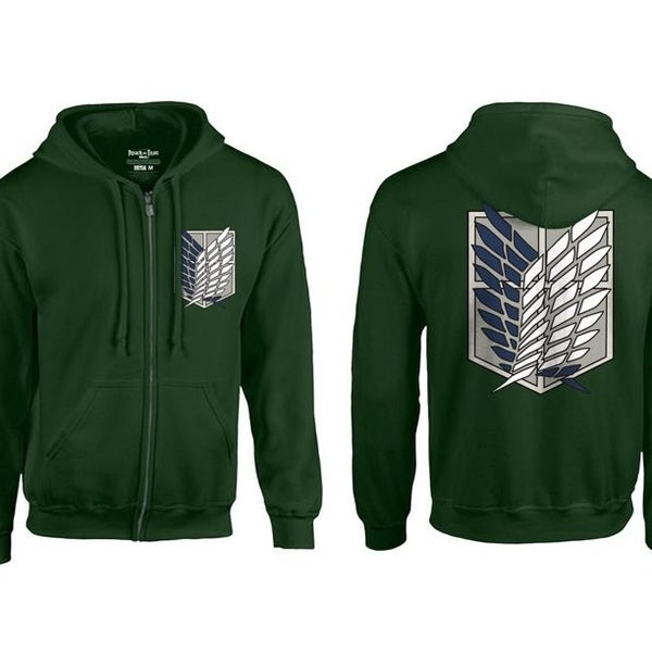 Attack on Titan Zipper Hoodie Scout Regiment Wings Green