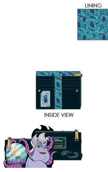 PREORDER Loungefly Disney villians scene Ursula crystal ball flap wallet Expected Late June