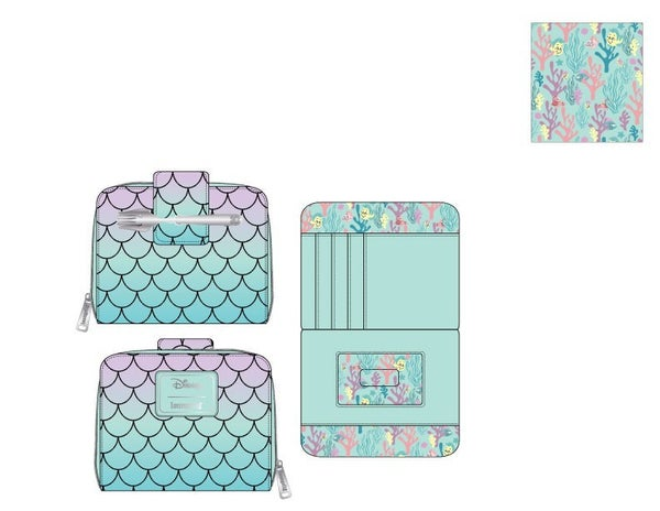 Little Mermaid Ombre Scales Zip Around Wallet Loungeflyry