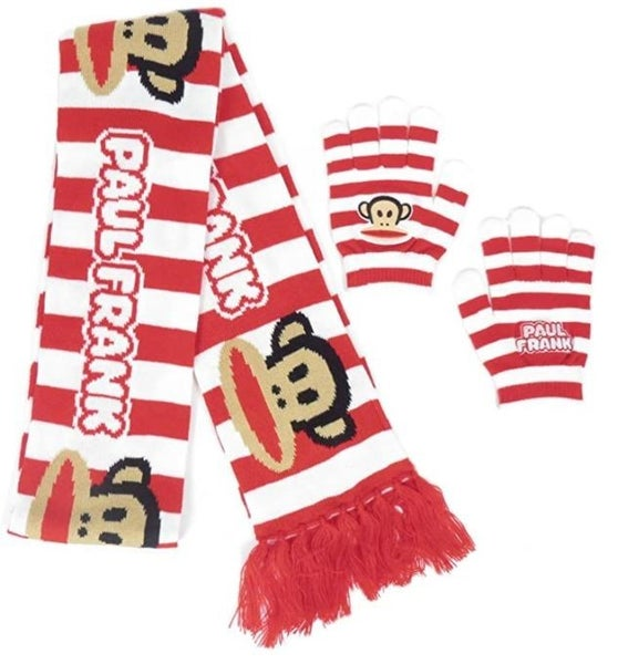Paul Frank Julius Striped Red and White Scarf & Glove Set