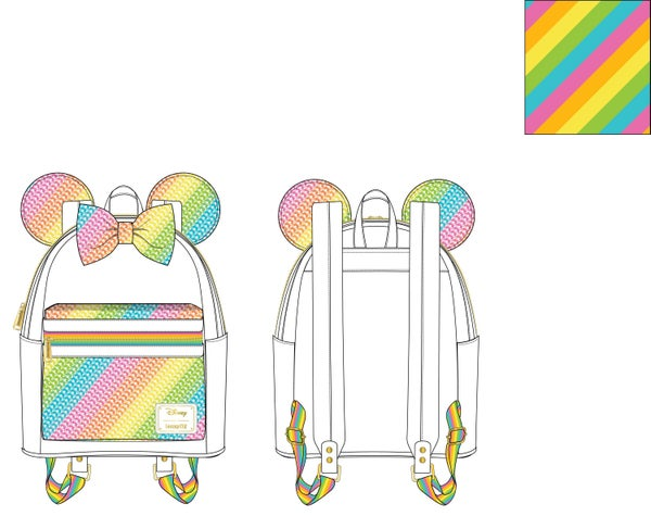 PREORDER Loungefly Disney sequin rainbow Minnie mini backpack Expected Late Sept / Early Oct